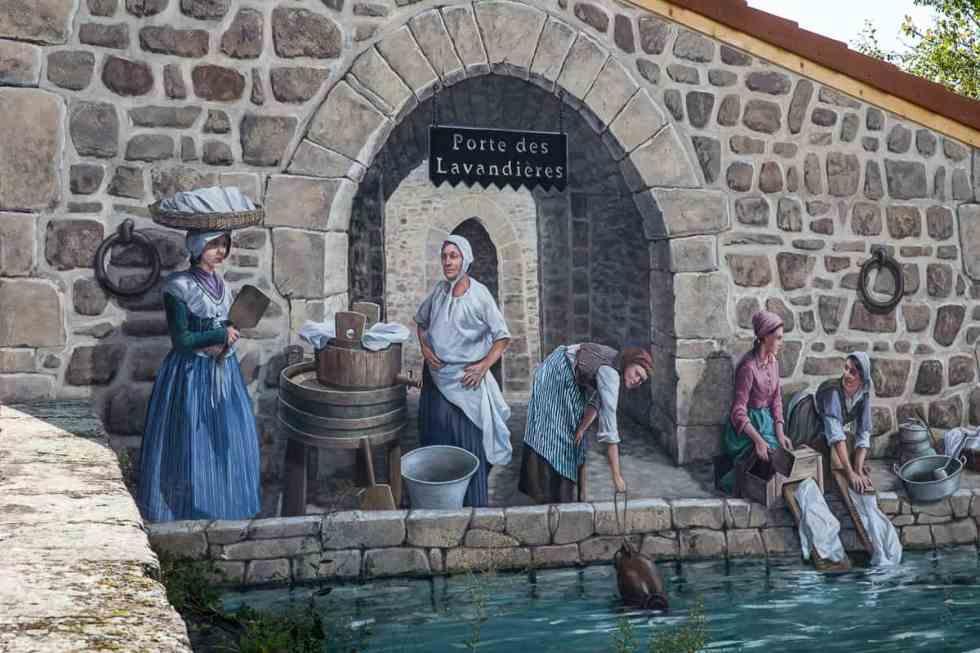 peinture murale des lavandières