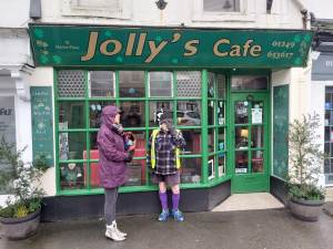 Outside Jolly's cafe Chippenham