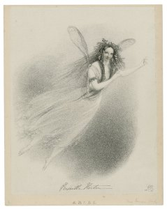 Horton as Ariel in The Tempest, Richard James Lane 1838, Folger Shakespeare Library.