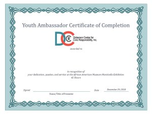 Dickerson Center Jefferson Monticello African American Museum Dallas Youth Ambassador certificate 2018