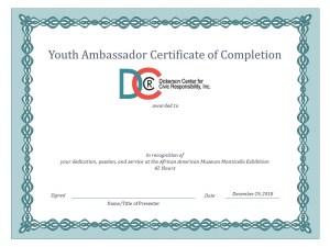 Dickerson Center Jefferson Monticello African American Museum Dallas Youth Ambassador certificate 2018