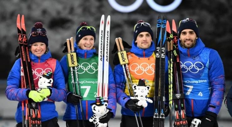 Le relais mixte (biathlon) champion olympique à Pyeongchang – AFP