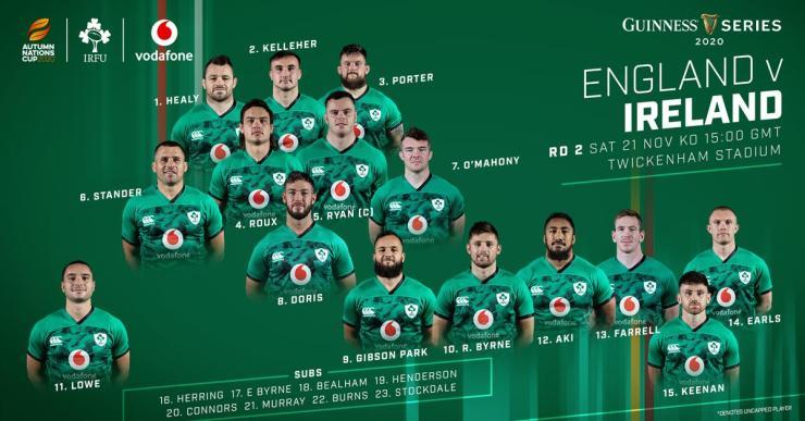 Composition de l'Irlande pour affronter l'Angleterre - Irish Rugby