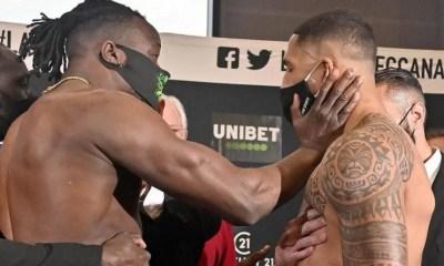 [Vidéo] Joël Tambwe Djeko gifle Tony Yoka pendant la pesée