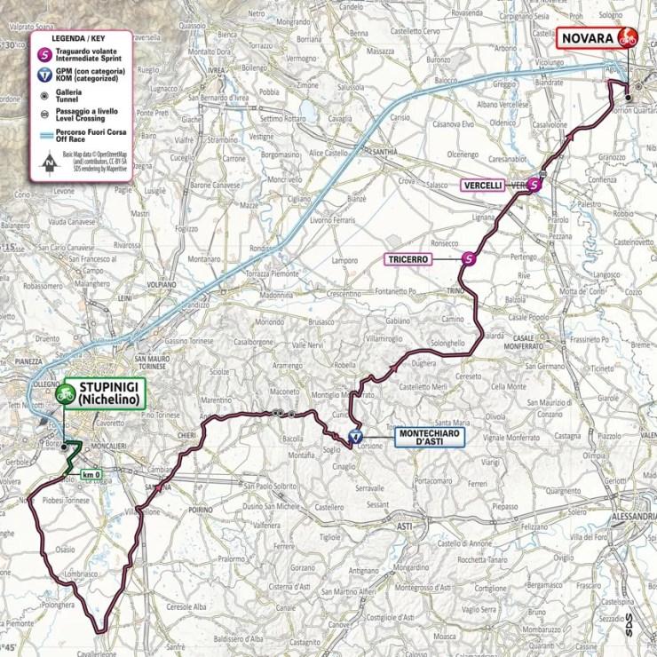 Carte du parcours de la 2ème étape du Tour d'Italie 2021