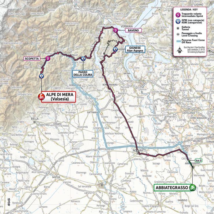 La carte du parcours de la 19ème étape du Tour d'Italie 2021