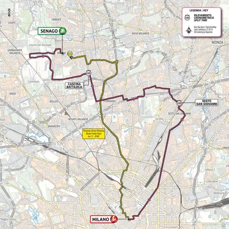 La carte du parcours de la 21ème étape du Tour d'Italie 2021