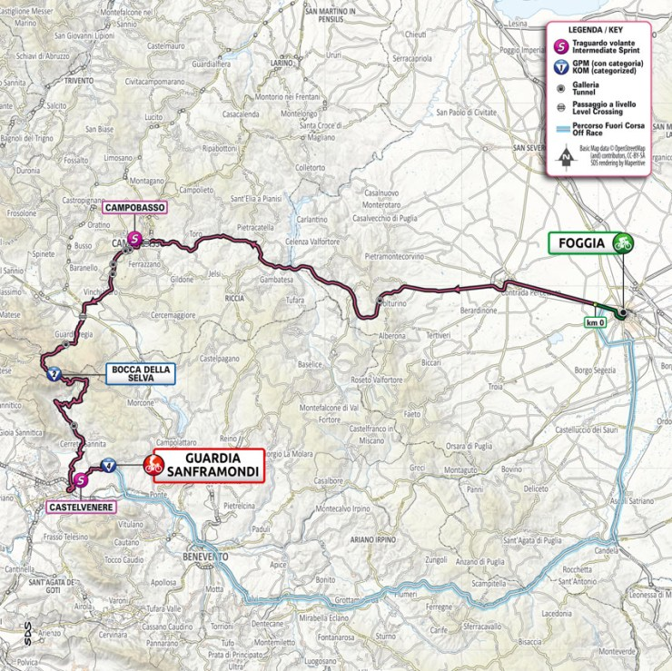 La carte du parcours de la 8ème étape du Tour d'Italie