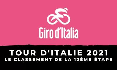 Tour d'Italie 2021 - Le classement de la 12ème étape