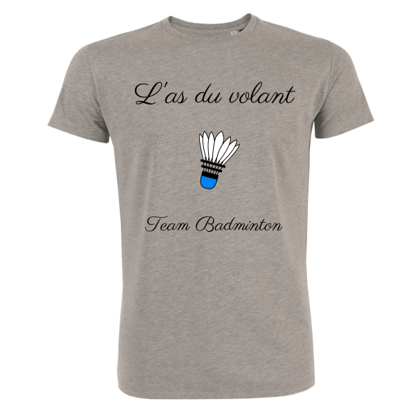 T-shirt Gris Homme As du volant - Team Badminton