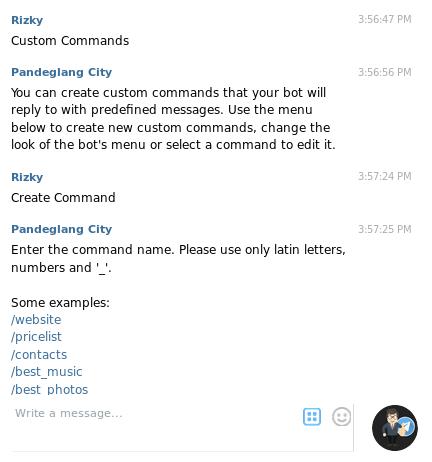membuat bot telegram Manybot custom-commands