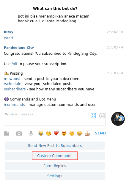 membuat bot telegram - menu Manybot