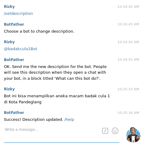 membuat bot telegram - set bot description