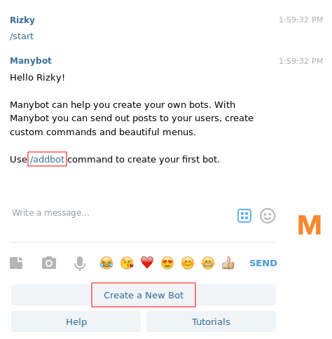 membuat bot telegram - @manybot
