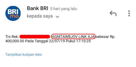 Notifikasi BRI: Transfer masuk LinkAja