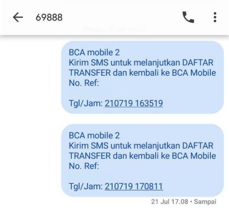 Transfer m-BCA: SMS otomatis m-BCA versi lama