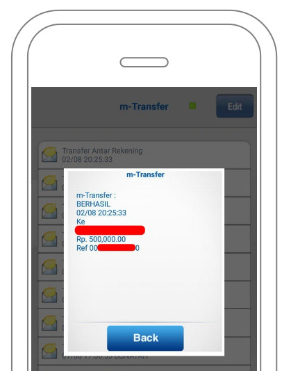 Bukti inbox m-Transfer BCA