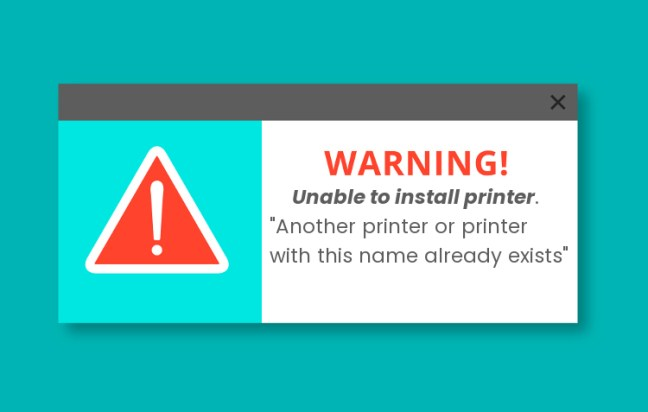 Unable to install printer. Another printer or printer with this name already exists