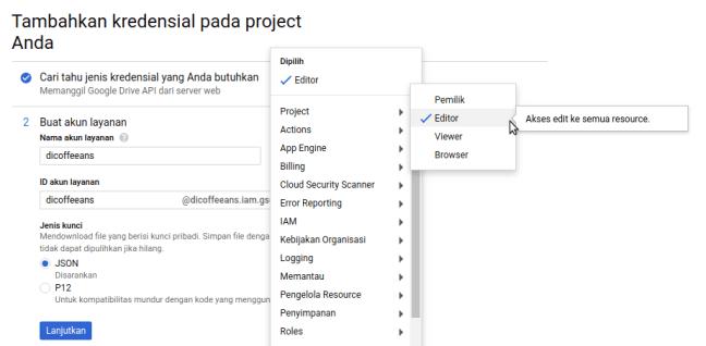 Project Editor Google API Console
