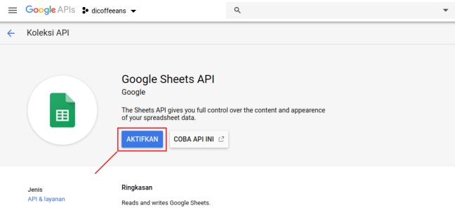 Mengaktifkan Google Sheets API pada Project