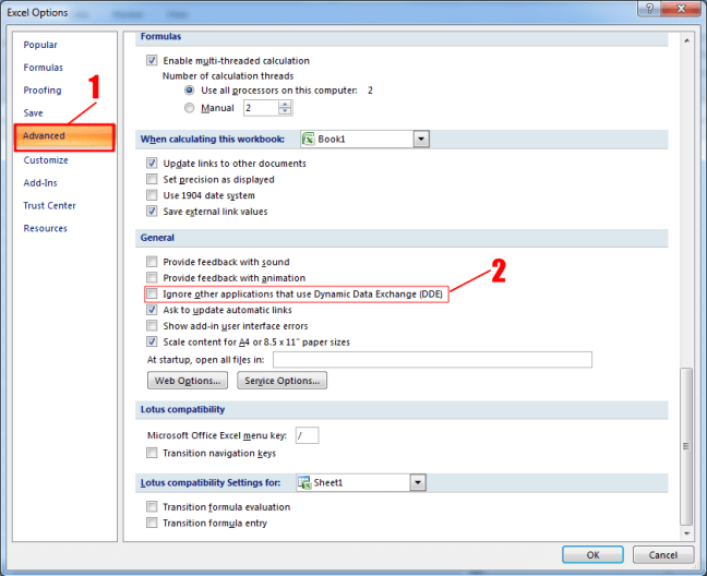 Excel Options: Ignore other applications that use Dynamic Data Exchange (DDE)