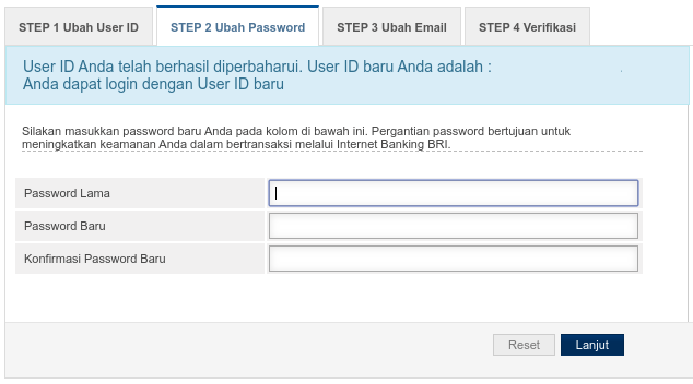 ubah password IB BRI