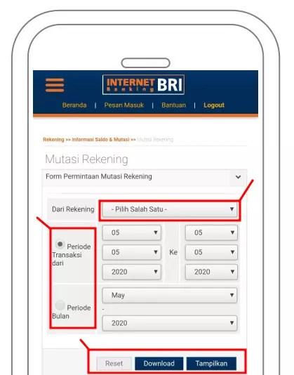 Tampilkan atau Download Mutasi Rekening BRI
