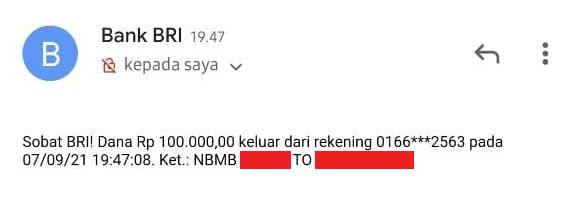 update pada SMS / Email notifikasi BRI