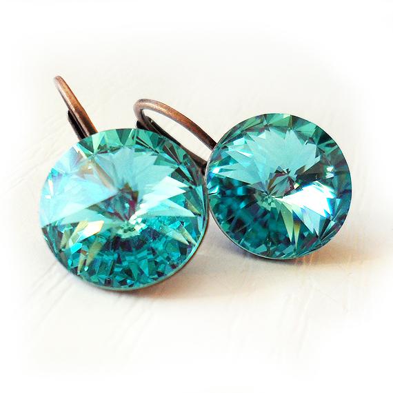 Amethyst Swarovski Crystal Earrings  Teardrop Rhinestone