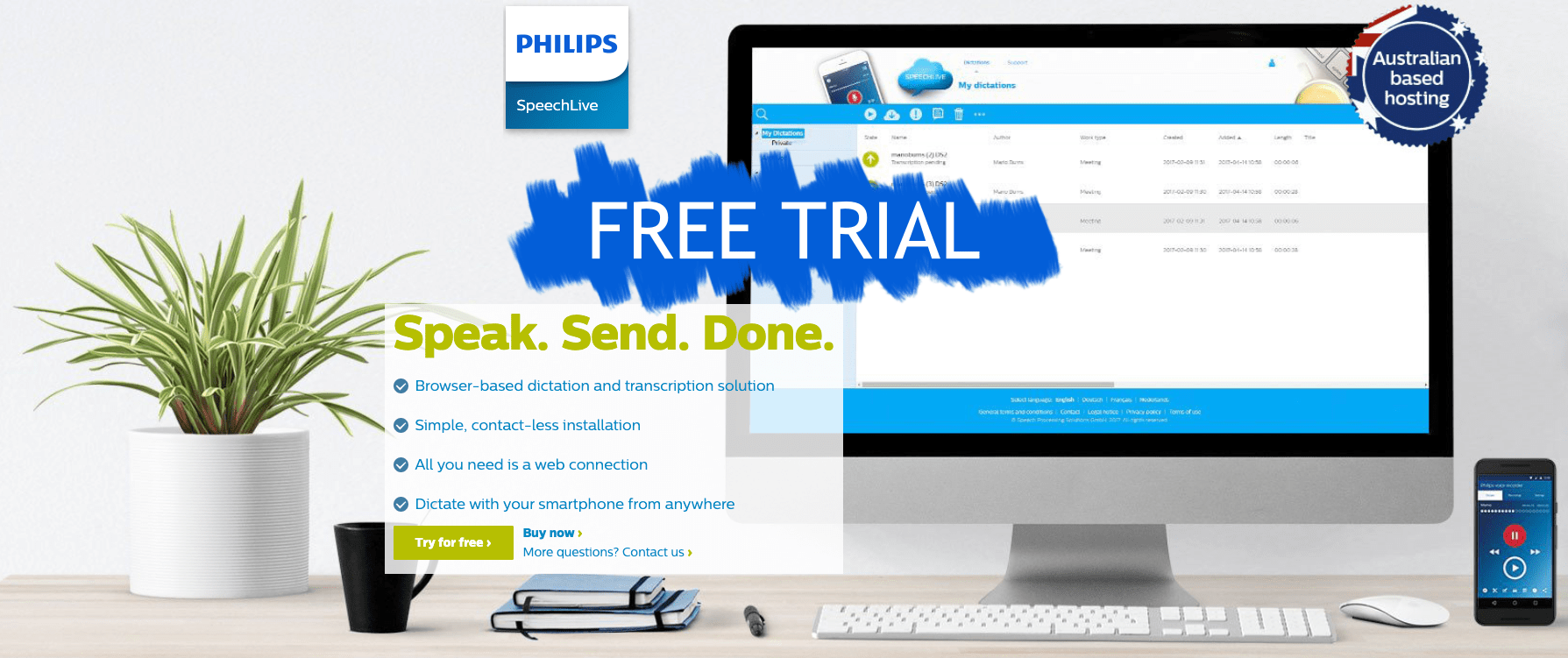 Try for Free Philips SpeechLive for upto 10 user from Dictate Australia