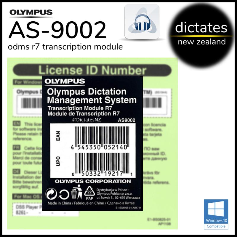 Olympus NZ AS-9002 ODMS R7 TM Transcription Module Licence Key Serial Number Windows 10