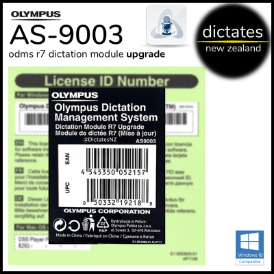 Olympus NZ AS-9003 ODMS R7 Upgrade Licence Key Serial Number DM Dictation Module Windows 10