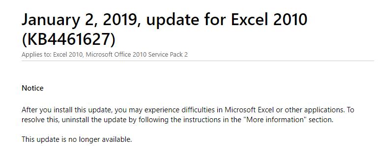 KB4461627のWindows Update後にExcelが動作を停止する/フリーズする不具合について(2019年1月6日更新/Microsoftからの ...
