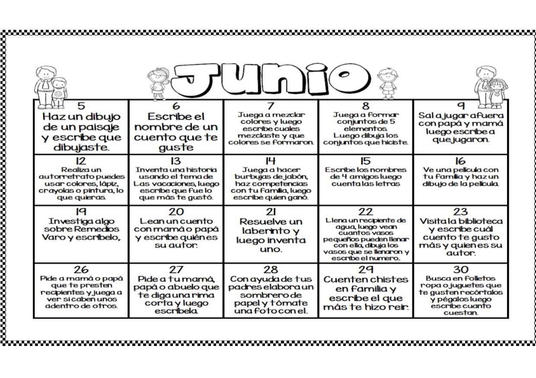 calendario del mes de junio calendario de actividades del