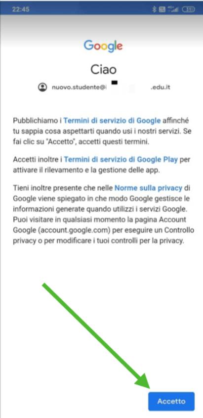 Attiva account mobile - accetta i termini di servizio
