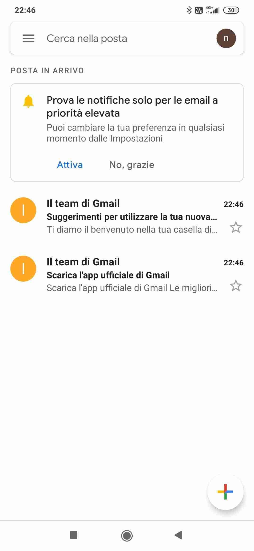 Attiva account mobile - gmail