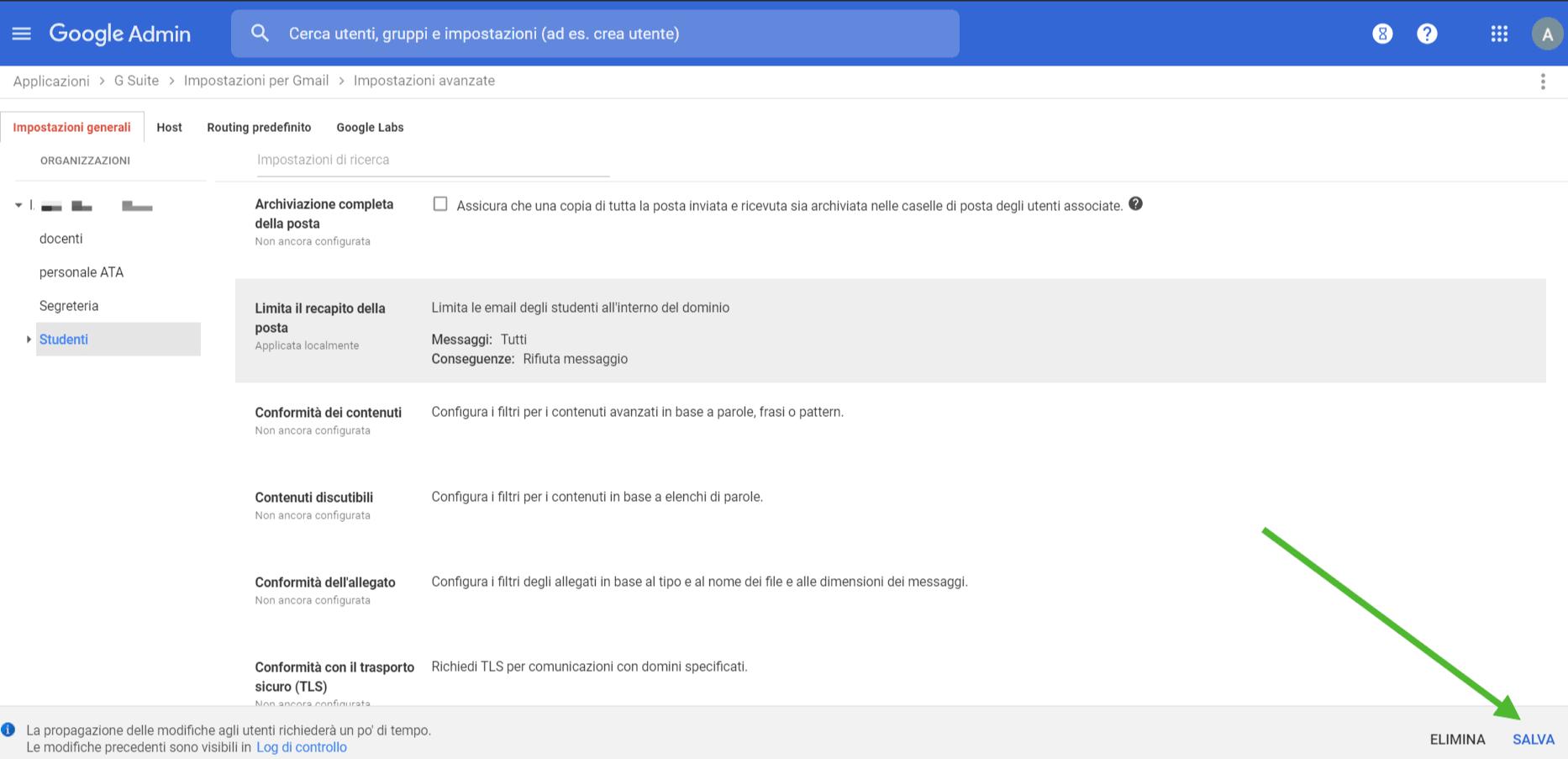limitare gmail - salva modifiche