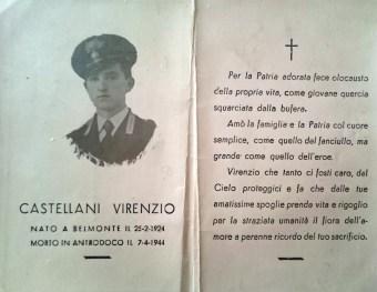 Il carabiniere Virenzio Castellani, fucilato il 7 aprile 1944