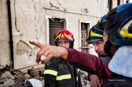 Amatrice (Rieti, Lazio – Italy), 28th September 2016, Firefighters of the NBCR Lazio department (Nuclear, Biological, Chemical and Radioactive risk specialists)