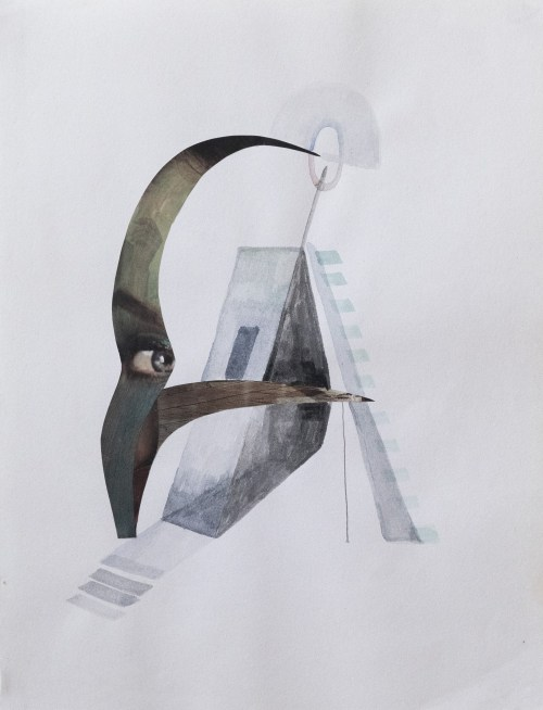 acuarela y collage sobre papel