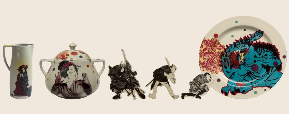 Instalación de la artista Ana Gomez de 6 piezas de cerámica