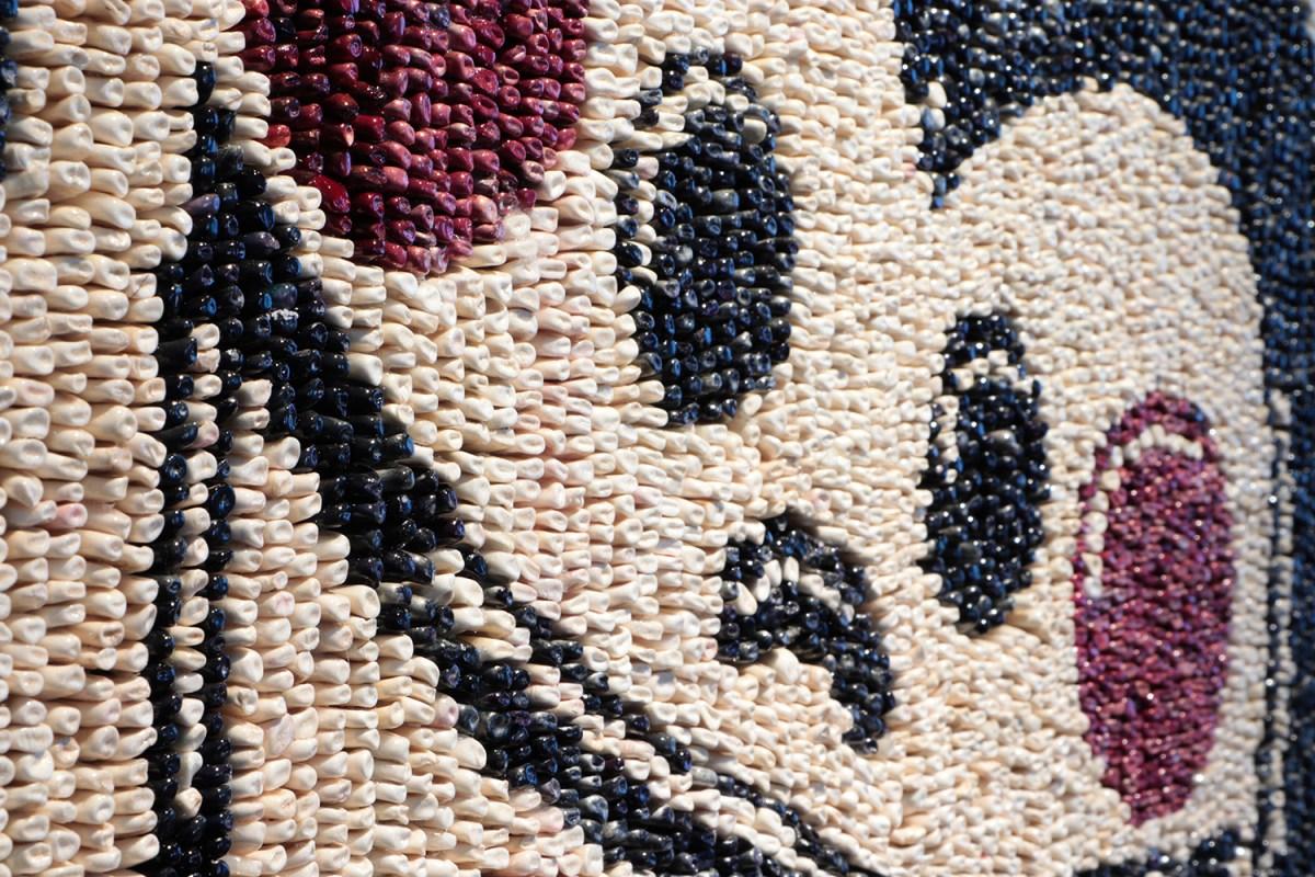 Detalle del Collage del artista Santiago Robles confeccionado con más de 17.000 semillas de maíz criollo sobre base de espuma