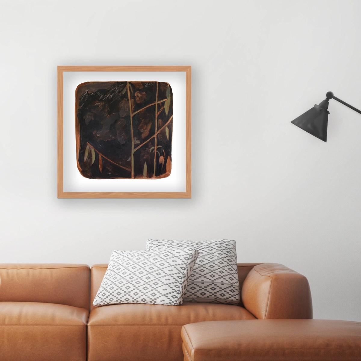 Pintura de la artista Alicia Ayanegui decorando un living