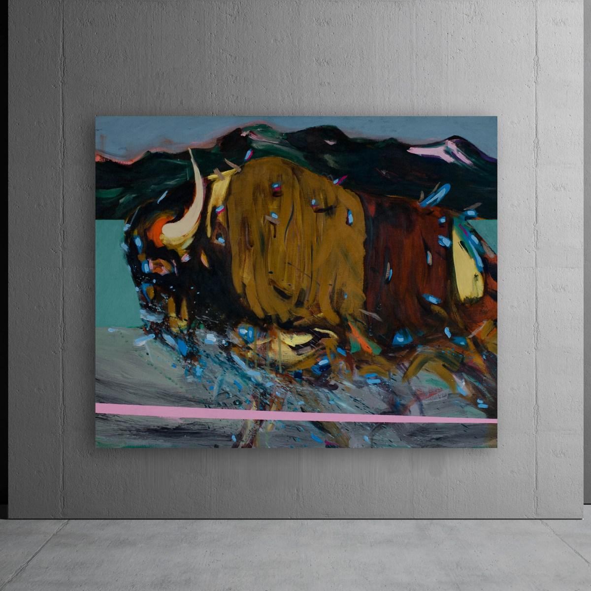 Obra de Agustín Guty Gonzalez, Pintura, Bisonte regresa a sus tierras