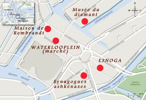 plan du quartier juif- Amsterdam