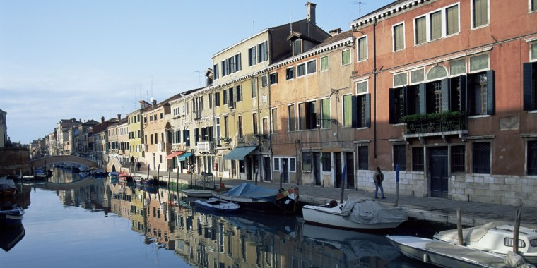 Canalside houses, The Ghetto, Venice, Veneto, Italy, Europe