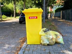Ein Gelber Sack und eine Gelbe Tonne am Straßenrand.