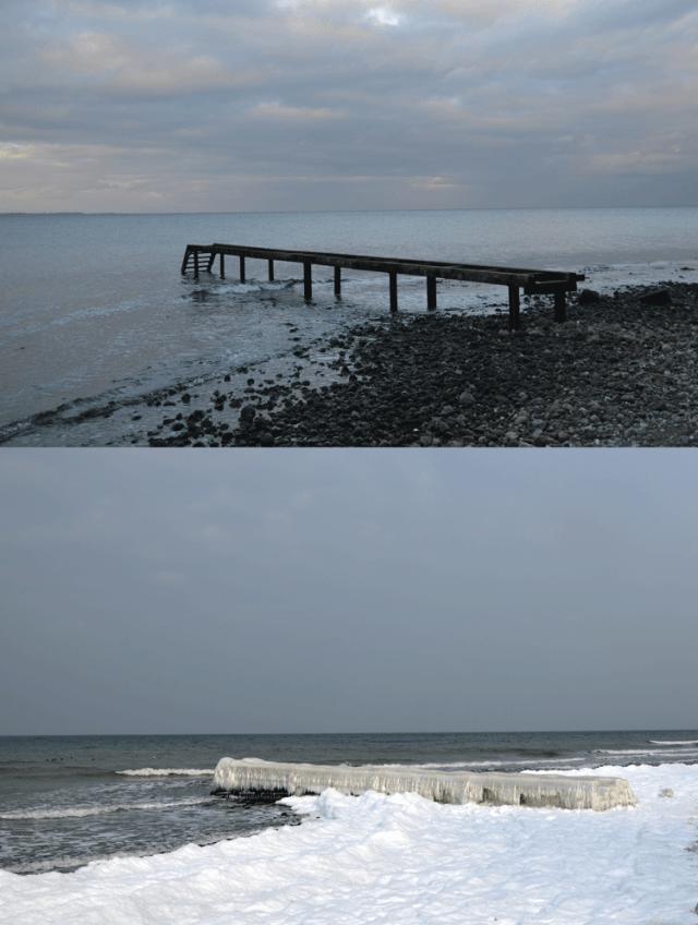 Ostsee im Schnee- und Eisgewand, Steg im Winter, ohne und mit Eiszapfen
