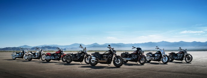 Klassische Optik, aber mit neuen Rahmen, neuen Motoren und neuen Fahrwerken: das Harley-Davidson Softail-Lineup des Modelljahres 2018. © Harley-Davidson