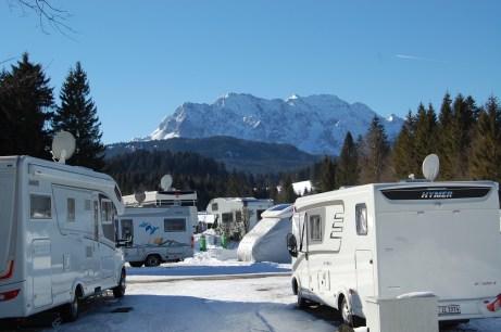 Wintercamping im Alpen-Caravanpark Tennsee, Krün.